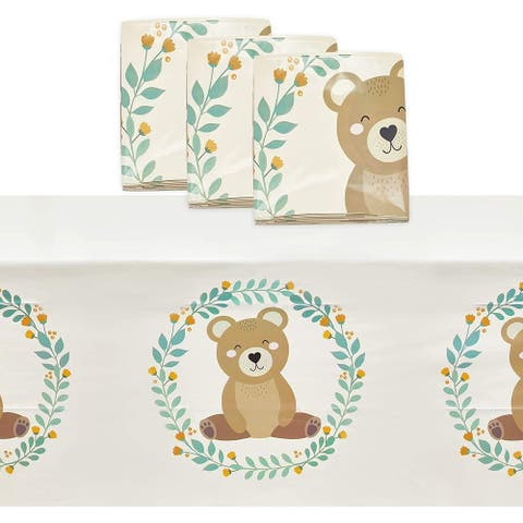 Plastic Tablecloth, Bear Birthday Party Supplies (54 x 108 in, 3-Pack)