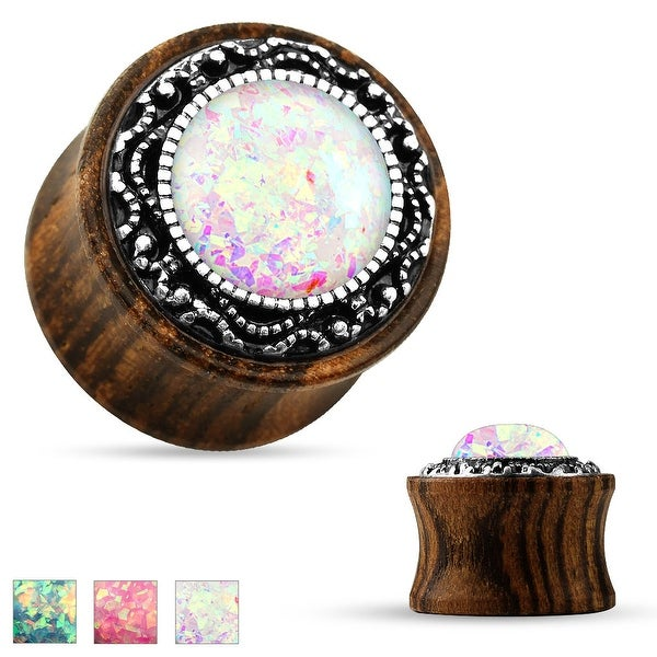Tribal Pattern Faux Opal Organic Wood Saddle Plug (Sold Individually)