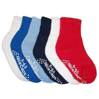 NICE CAPS Little And Big Boys 6 Pack Crew Socks Cotton/Spandex Assortment - white/blue/navy/royal/red pack