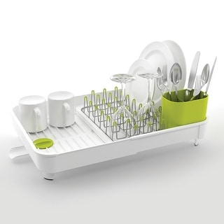 Joseph Joseph Extend Expandable Dish Drying Rack and Drainboard Set, White & Green