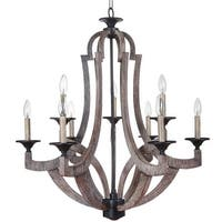 Craftmade 35129 Winton Two Tier 9 Light Candle Style Chandelier - 30 Inches Wide - weathered pine