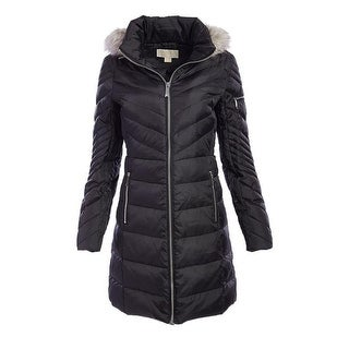 Womens black down coat with fur hood