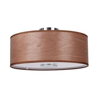 Modern 3-Light Plywood Drum Flush Mount