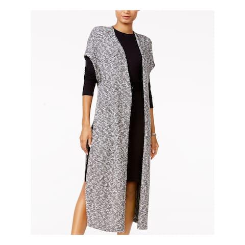 CHELSEA SKY Womens Black Short Sleeve Open Cardigan Sweater Size L