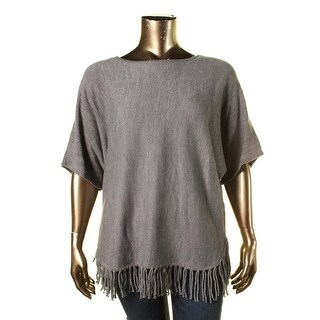 NY Collection Womens Plus Fringe Knit Poncho Sweater