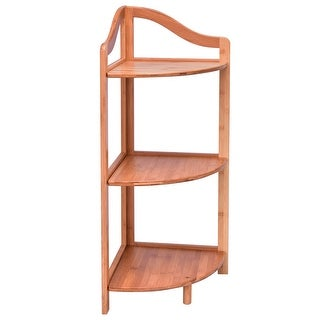 3 Tiers Free Standing Bamboo Corner Shelving Rack - Natural