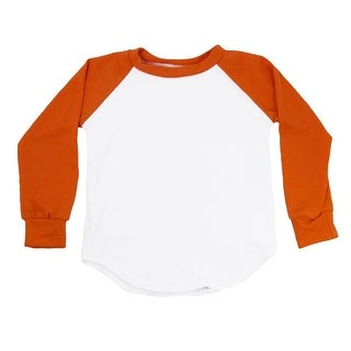 Unisex Little Kids Orange Two Tone Long Sleeve Raglan Baseball T-Shirt 4T