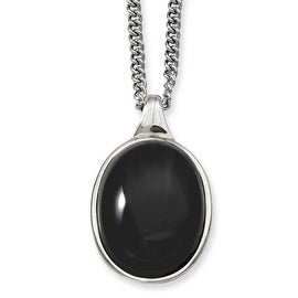 Stainless Steel Black Agate Pendant 18in Necklace (2 mm) - 18 in