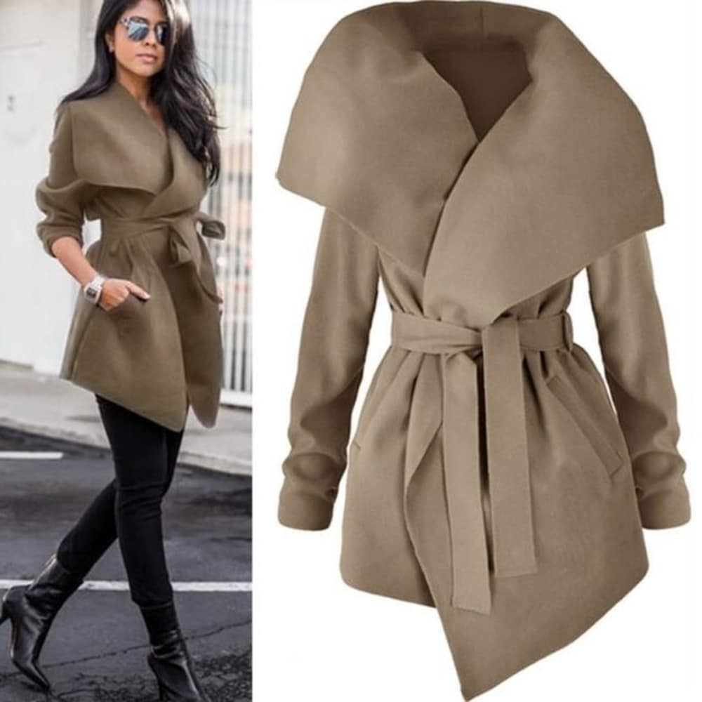 Womens Coats Turn Down Shawl Collar Earth Tone Check Jacket