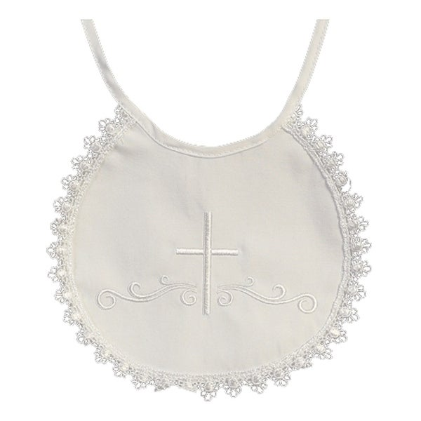 Baby Girls Boys White Embroidered Cross Cotton Lace Trim Christening Bib - One size