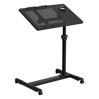 Offex Black Adjustable Height Steel Mobile Computer Desk [OF-NAN-JG-06B-BK-GG]