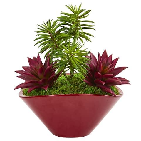 "Succulent Garden Artificial Plant in Burgundy Vase - 11"""