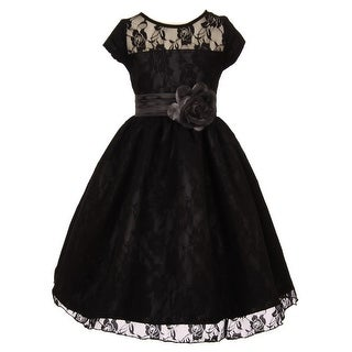 Girls Black Lace Overlay Illusion Neckline Junior Bridesmaid Dress 8-18