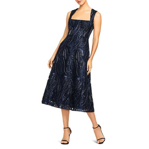Aidan Mattox Womens Fit & Flare Dress Sequined Box Neck - Twilight