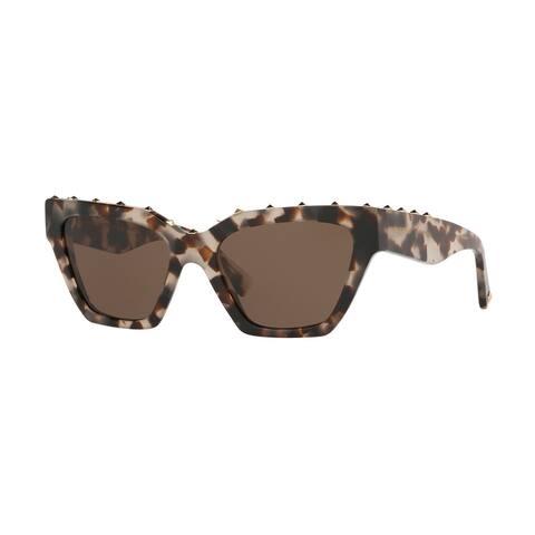 Valentino VA4046 509773 53 Brown/beige Tortoise Woman Irregular Sunglasses