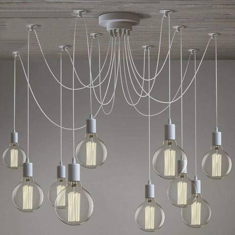 10 light modern adjustable spider white chic ceiling fixture chandelier