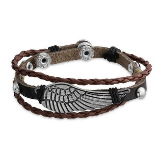 Zen Surfer Wrap Leather Bracelet Angel Wing Silver Plated