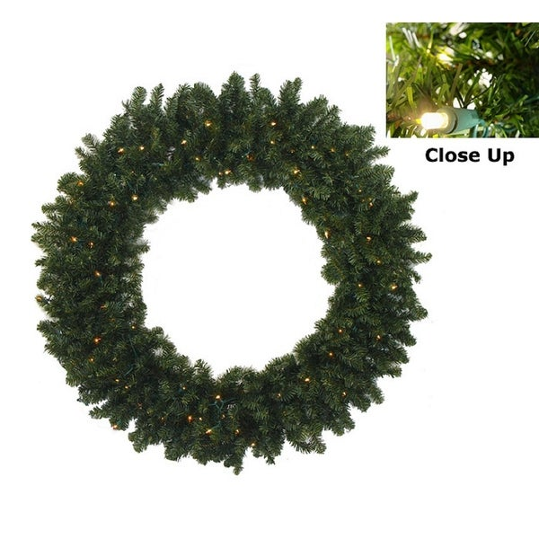 """36"""" Pre-Lit Battery Operated Canadian Pine Christmas Wreath - Clear LED Lights"""
