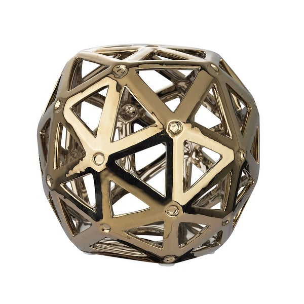 """6"""" Gold Perforated Multi-Hexagonal Stand Decor - N/A"""