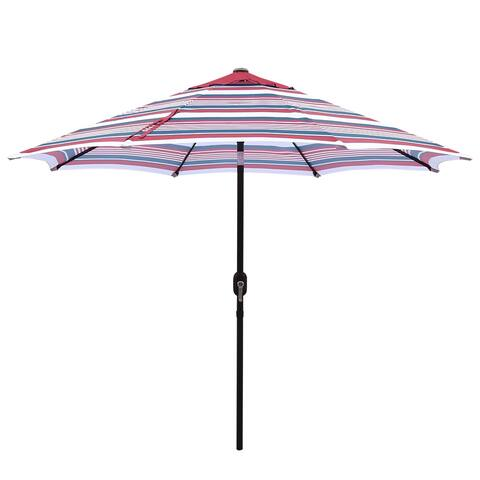 Liki 9-foot Striped Crank and Tilt Market Patio Umbrella by Havenside Home