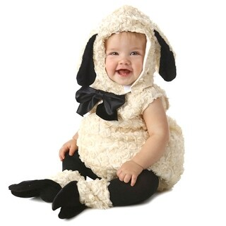 Baby Girls Black Ivory Vintage Lamb Halloween Bubble Hooded Costume 12M-24M