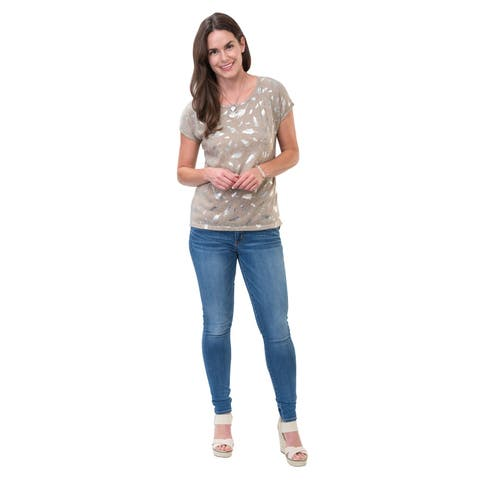 Catalog Classics Women's Metallic Accents T-Shirt - Embellished Fashion Tee