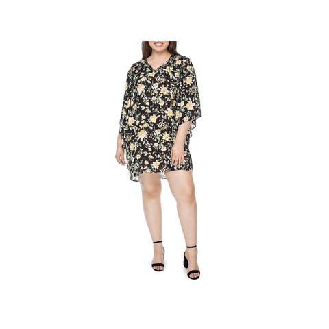Bobeau Womens Plus Morna Mini Dress Floral Angel Sleeves