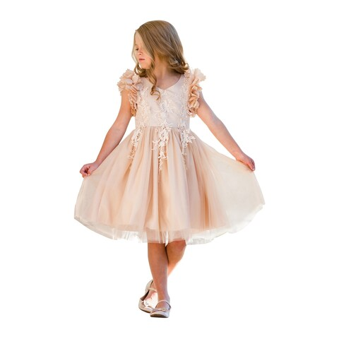 Just Couture Little Girls Champagne Petal Sleeve Lace Flower Girl Dress