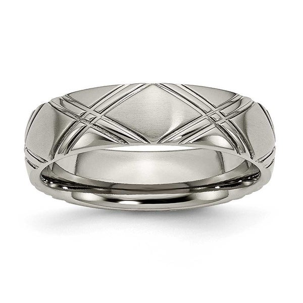 Chisel Brushed and Polished Titanium Ring (6.0 mm)