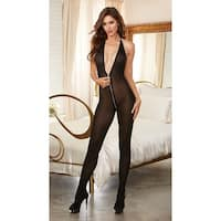 Zipper Front Bodystocking, Sheer Bodystocking - Black - One Size Fits most