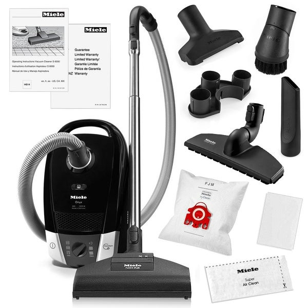 Miele Compact C2 Onyx Canister Vacuum Cleaner + STB205-3 Turbobrush + SBB 300-3 Parquet Floor Brush + More
