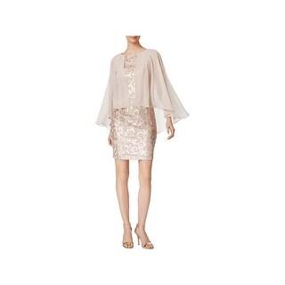 Alex Evenings Womens Petites Cocktail Dress Sequined Chiffon - 4P