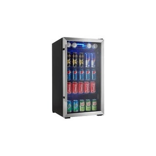 Danby DBC93DD 18 Inch Wide 3.3 Cu. Ft. Capacity Beverage Center with 120 Can Cap - Black/Stainless Steel - N/A