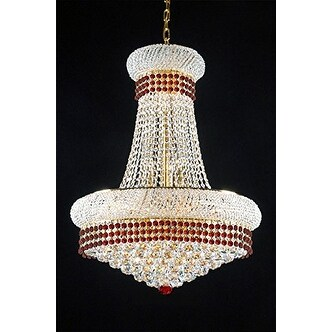 French Empire Crystal Chandelier Chandeliers Lighting Trimmed With Ruby Red