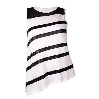 INC International Concepts Women's Faux Leather Striped Top (L, Bright White) - Bright White - l