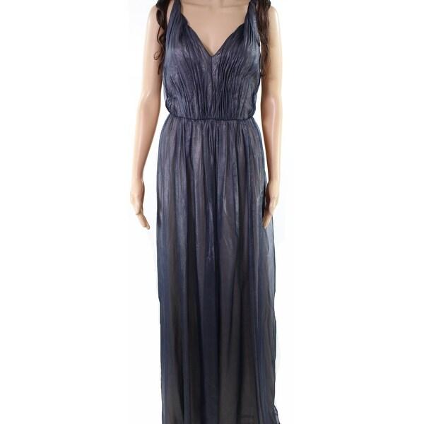 523ccec86d5d0 Shop Vera Wang Blue Women's 2 Sleeveless Metallic Chiffon Gown Dress ...
