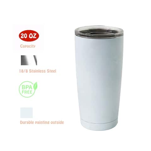 20 OZ Stainless Steel Vacuum Insulated Double Wall Tumbler Cup with Lid Hot for 6 Hours Cold for 12 Hours White