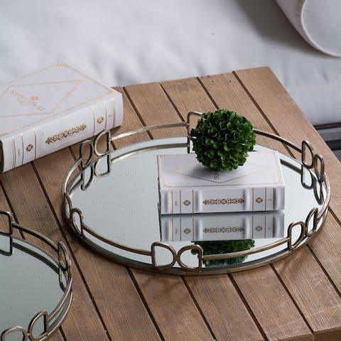 A&B Home Metal and Frosted Glass Tray
