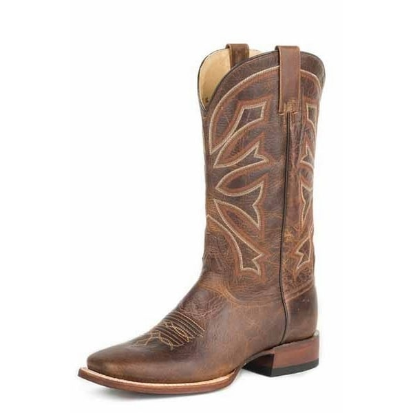 Stetson Western Boot Mens Wide Gunsmoke Brown