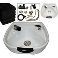 LCL Beauty Heart Shaped Ceramic White Shampoo Bowl with Vacuum Breaker and 6 Towels - Thumbnail 0