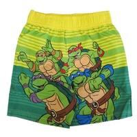 Nickelodeon Baby Boys Yellow Green TMNT Print UPF 50+ Swim Shorts