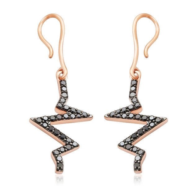 Fabulous 0.52Ct Round Brilliant Cut Black Diamond fishhook Wave Style Drop Earring
