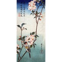 Small Bird on Kaidozakura Branch Japanese Wood-Cut (Art Print - Multiple Sizes)