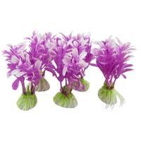 Unique Bargains 5 Pcs Plastic Plant Ornament Purple 3.7  for Aquarium