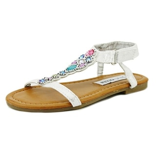 Steve Madden Chiaree Youth Open-Toe Canvas Silver Slingback Sandal