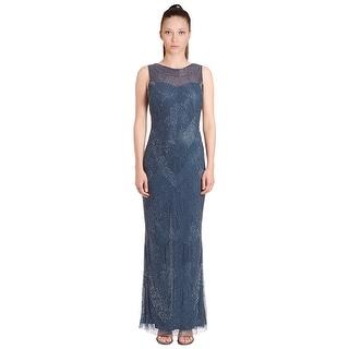 Aidan Mattox Beaded Illusion Top Sleeveless Evening Gown Dress - 6