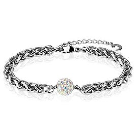 Ferido Multi Crystal Paved BStainless Steel Chain Bracelet (7.5 mm) - 8.5 in