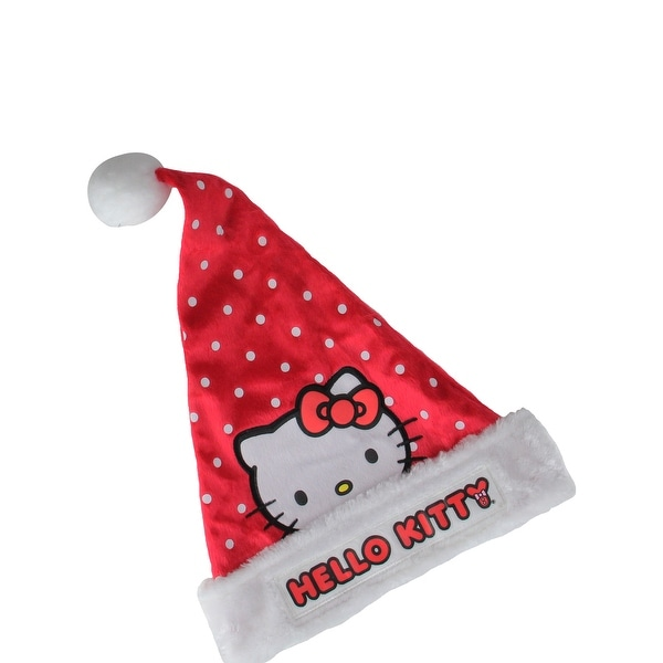 "17"" Red with White Polka-Dot ""Hello Kitty"" Santa Hat with White Faux-Fur Trim"