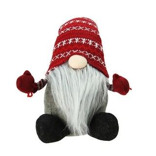 "22"" Plush Red and Gray Nordic Santa Christmas Gnome Tabletop Figure"