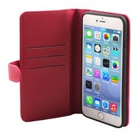 Cell Phone Faux Leather Zippered Wallet Magnetic Case Fuchsia for iphone 6 Plus